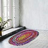 Sadivi Alfombra de algodón vibrante – Multicolor trenzado a mano reversible, los colores pueden variar (2 x 3 pies algodón (oval))