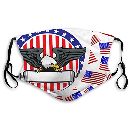 Face Covers Warm Windproof eagle grip a ribbon with us flag as background sport Covers