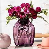 TRUSTWOODS Jarrón de cristal acanalado soplado a mano, jarrones de mesa, mesa de mesa, caja de regalo, violeta, 20 cm de alto