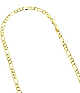 14k White or Yellow Solid Gold 4.5mm Diamond Cut Figaro Chain Necklace Bracelet Lobster Clasp