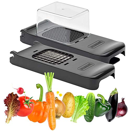 """ALLIGATOR 3008B Onion, Vegetable and Fruit Chopper Set. Sharp 6x6 mm (1/4\"""") and 12x12 mm (1/2\"""") Stainless Steel Safe Blades"""