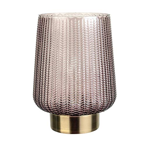 Pauleen 48137 Fancy Glamour mobile Tischleuchte Glas Tischlampe Timerfunktion 6H Batterie Glaslampe ohne Kabel Grau Glas/Metall, braun,messing