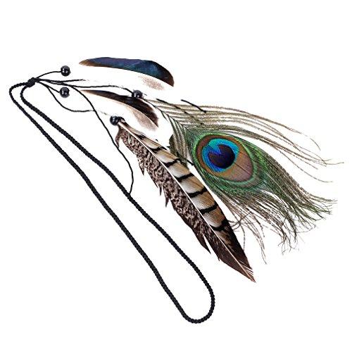 YAZILIND Pfau Feder Lange Halsketten Schellfisch Aussagen Kristall Kragenchoker Chunky Für Frauen Colorful (Pfau Haar Zubehör)