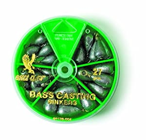 Eagle Claw Bass Casting Sinker Assortment, 27 Sinkers, Plain Lead, Assorted Sizes, Dial Pack
