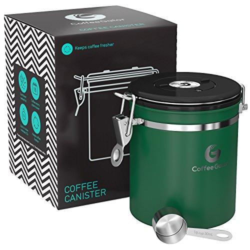 Coffee Gator-Edelstahl-Kaffeedose – Hält gemahlener Kaffee und Bohnen länger frisch – Behälter mit Datumsverfolgung, CO2-Freigabeventil und Messlöffel - Mittel - Grün