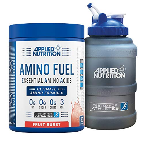 Applied Nutrition Bundle Amino Fuel 390g + 2.5 Litre Water Jug | Essential Amino Acid EAA Powder Supplement for Muscle Growth, 11g Aminos Per Serving with BCAAs (Fruit Burst)