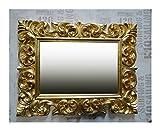 Lnxp Espejo de pared antiguo, barroco, 90 x 70 cm, color dorado