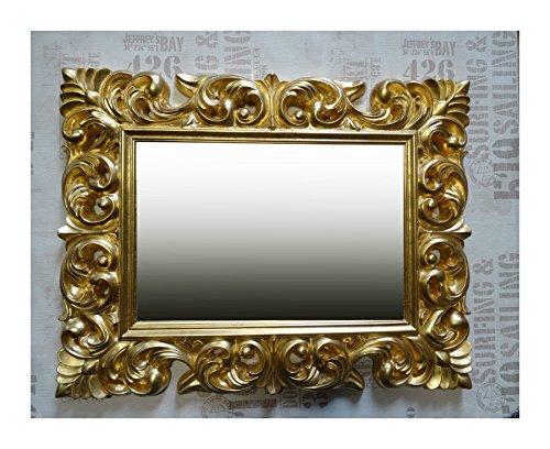 Lnxp Espejo de pared antiguo, barroco, 90 x 70 cm, color dor