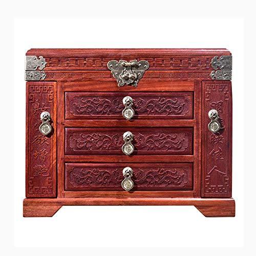 ALIANG Cajas de joyería de Madera, Gabinete de Caja de joyería con cajón de Puerta Doble de Moda, Caja de Almacenamiento organizadora de Anillo/Pendiente/Collar