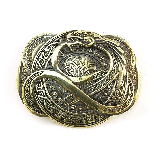 Jormungandr belt buckle, Handmade scandianavian Ouroboros dragon solid brass belt buckle