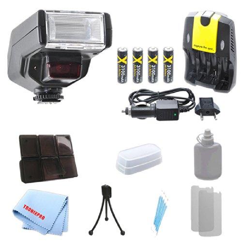 D130 Dedicated Essential Slr Ttl Flash + 4 Batteries + Home/Car Charger for Nikon D70, 70S, D80, D3000, D3100, D3200, D3300 with a Complete Starter Kit