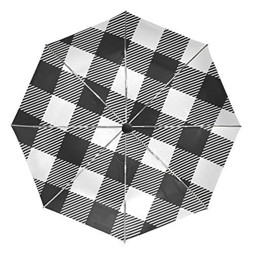 Kleiner Reiseschirm Winddichter Regen im Freien Sonne UV Auto Compact 3-Fach Regenschirmabdeckung - weißer und schwarzer Buffalo Check Plaid