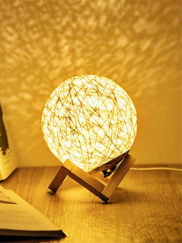 Christmas Decoration Gifts 3d Night Light Solid Wood Sepak Takraw Table Lamp Romantic Starry Sky Creative-Yellow dimming
