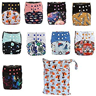 AIO Reusable Washable Cloth Diaper Nappy Charcoal Bamboo Insert Overnight (6PCS AIO Double Gussets+1 Wet Bag)