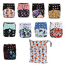 powerful AIO Reusable washable cloth diapers, diapers, charcoal, bamboo overnight (6 AIO, double …