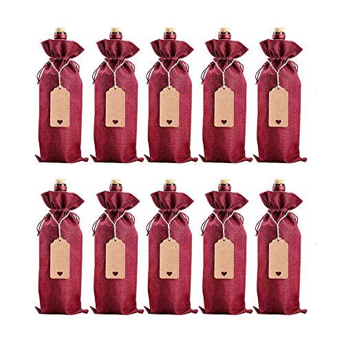 Bolsa Botella Vino, 10 Piezas Bolsas Vino, Bolsa de Vino para Regalo, Bolsas de vino de Yute, Bolsas de Regalo Vino Cordón, con Etiquetas de Cordón, para Boda Viaje Cumpleaños Fiesta Regalo