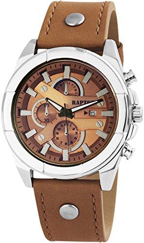 Raptor Herren-Uhr Armband Oberseite Leder Analog Quarzwerk RA20026-001