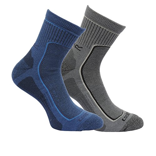 Regatta Great Outdoors Herren Wander-Socken, gepolstert, 2er-Pack (43-47 EU) (Dunkles Denim/Granit)