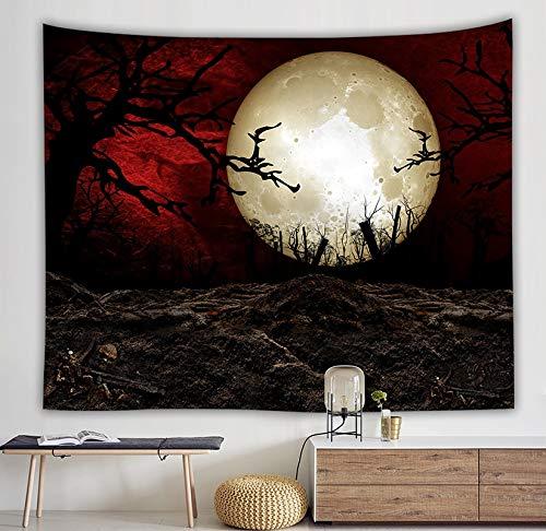 WERT Sea Rises Bright Moon Tapiz Colgante de Pared Moon Light Tapices Estilo Fresco Paisaje Mar Negro Hippie Paño de Pared Home Deco A11 150x200cm