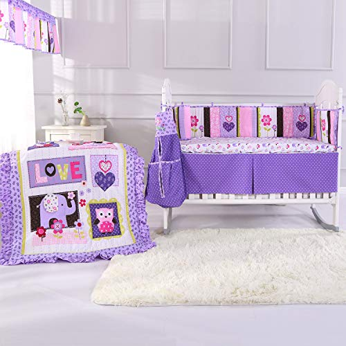 Wowelife 9 Piece Crib Bedding Sets for Girls Elephant 100% Cotton with Diaper Stacker(Purple-9 Piece)