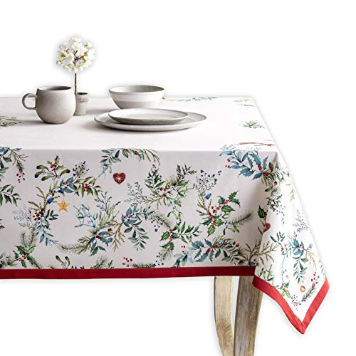 Maison d'Hermine Holly Time Nappe en 100 % coton pour table de cuisine, salle à manger, fête, mariage, Thanksgiving, Noël (rectangulaire, 140 x 180 cm)