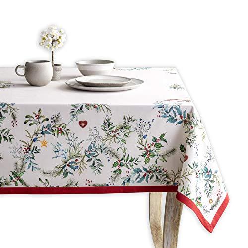Maison d' Hermine Holly Time 100% Baumwolle Tischdecke für Küche | Abendessen | Tischplatte | Dekoration Parteien | Hochzeiten | Thanksgiving/Weihnachten (Rechteck, 140 cm x 180 cm)
