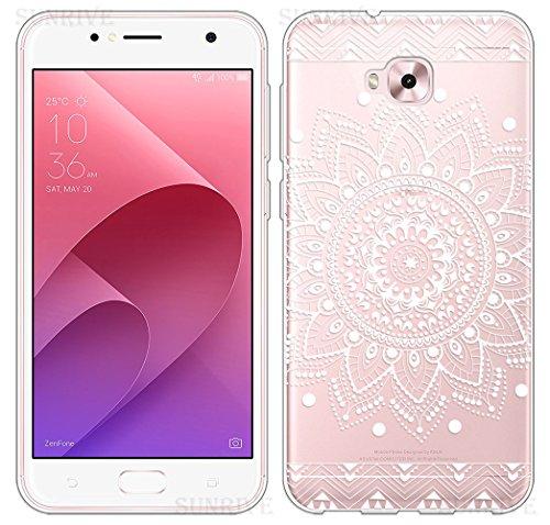 Sunrive Für Asus Zenfone Live Plus ZB553KL 5,5 Zoll Hülle Silikon, Transparent Handyhülle Schutzhülle Etui Hülle Backcover(TPU Blume Weiße)+Gratis Universal Eingabestift