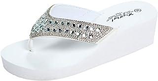 Pantoufles Mode Été Femmes Strass Compensées Tongs Chaussures de Plage Décontractées