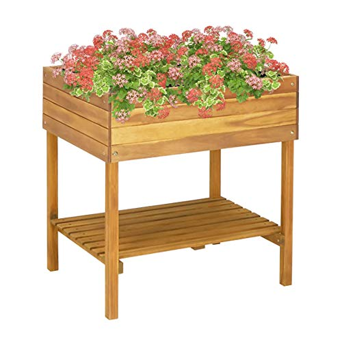 UBaymax Holz Pflanzkübel Hochkübel Blumentopf aus Massivholz Akazie mit PVC-Folie, Holzfarbe Terrasse Hochbeet nutzbar als Pflanzkasten, Kräuterbeet oder Anzuchtbeet, 78,5 x 58,5 x 78,5 cm