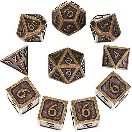 Hestya 10 Pezzi Metallo Dadi Set DND Gioco Poliedrico D&D con Borsa di Stoccaggio e Zinco in Lega con Numeri Stampati per Gioco di Ruolo Dungeons And Dragons (Nuovo Bronzo)