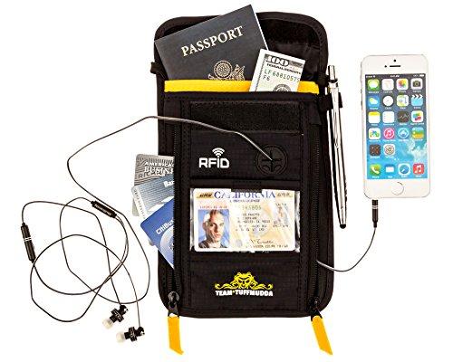Tuff Mudda Porta passaporto da collo, 100% sicuro, RFID, ideale da viaggio