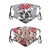 Cute Funny French Bulldog Dog with Glasses Fashion Face Mask with Filter Pocket Washable Face Bandanas Balaclava Reusable Fabric Mask for Men and Women