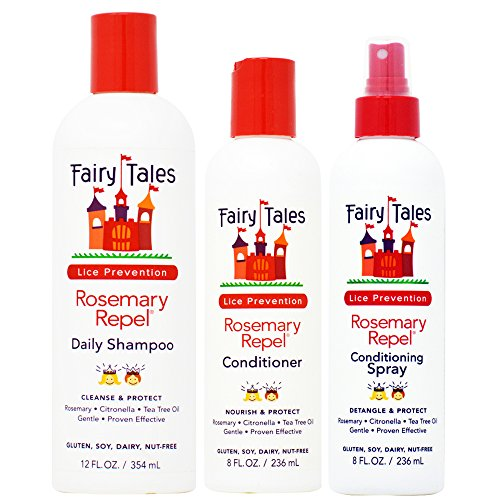 Fairy Tales Rosemary Repel Shampoo, Conditioner, & Conditioning Spray TRIO Set (with Sleek Steel Pin Tail Comb) (12 oz, 8 oz, 8 oz TRIO KIT)