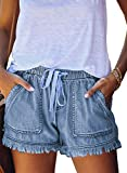 Dokotoo Womens Ladies Casual Summer Frayed Tencel Comfy Drawstring Elastic Waist Denim Jean Shorts for Women Shorts for Summer Pants with Pockets Blue Large
