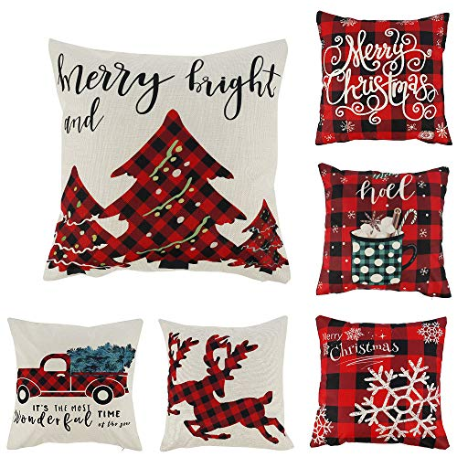 ATopoler 6Pcs Christmas Throw Pillow Covers Cotton Linen Winter Pillow Covers 18 x 18 Inch Cushion Couch Covers for Home Decor Christmas Decorative Xmas Décor