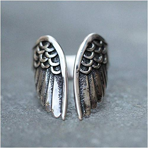 MMYY 925 SilverAngel alas anillo, aleación retro teñido negro alas de ángel anillo abierto femenino anillo clásico joyería accesorios adaptables