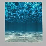 Duschvorhang Antischimmel und Wasserdicht Polyester 3D Meer Ozean Badezimmer Duschvorhang mit Haken Blau 120x200 cm
