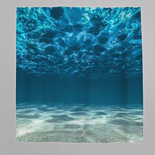 Duschvorhang Antischimmel & Wasserdicht Polyester 3D Meer Ozean Badezimmer Duschvorhang mit Haken Blau 120x200 cm