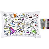 eatsleepdoodle Colorea y aprende el Mapa Mundial con Esta Funda de Almohada, con los rotuladores Lavables incluidos
