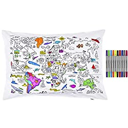 Best Toys for 5 Year Old Girls-Doodle World Map Pillowcase