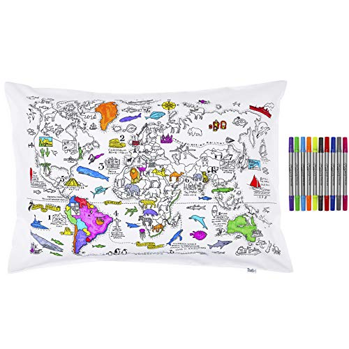 Colorea y aprende el mapa mundial con esta funda de almohada, con los rotuladores lavables incluidos
