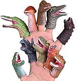 FUN LITTLE TOYS 10 PCs Dinosaur Finger Puppets for Kids Rubber, Soft Realistic Pinata Stuffers Set, Bath Dinosaur Head Finger Toys, Animal Hand Puppet Bulk Birthday Party Supplies Favors Decorations