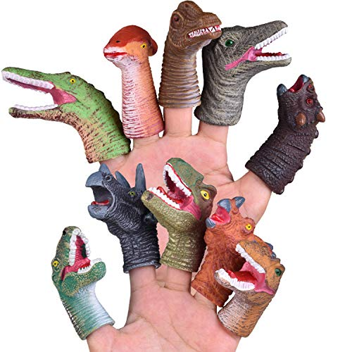 FUN LITTLE TOYS 10 PCs Animal Bath Finger Puppets, Dinosaur Head Finger Toys, Best Choice for Kids Party Favors, Treasure Box Prizes, Pinata Fillers and Goodie Bag Fillers