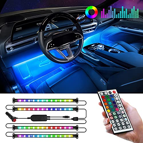 CT CAPETRONIX Interior Car Lights, Clearance LED Lights for Car with Remote & Box Control, 2-in-1 Waterproof Design, Music, DIY, RGB and Sound Active, Multicolor Under Dash Lighting Kits DC 12V