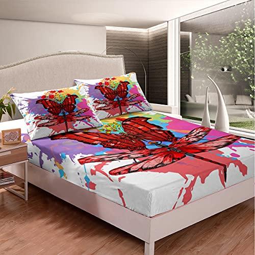 Juego de sábanas de cama con diseño de mariposas rojas 3D, diseño floral de libélula para niños y niñas, juego de ropa de cama con 1 funda de almohada, 2 piezas de ropa de cama individual