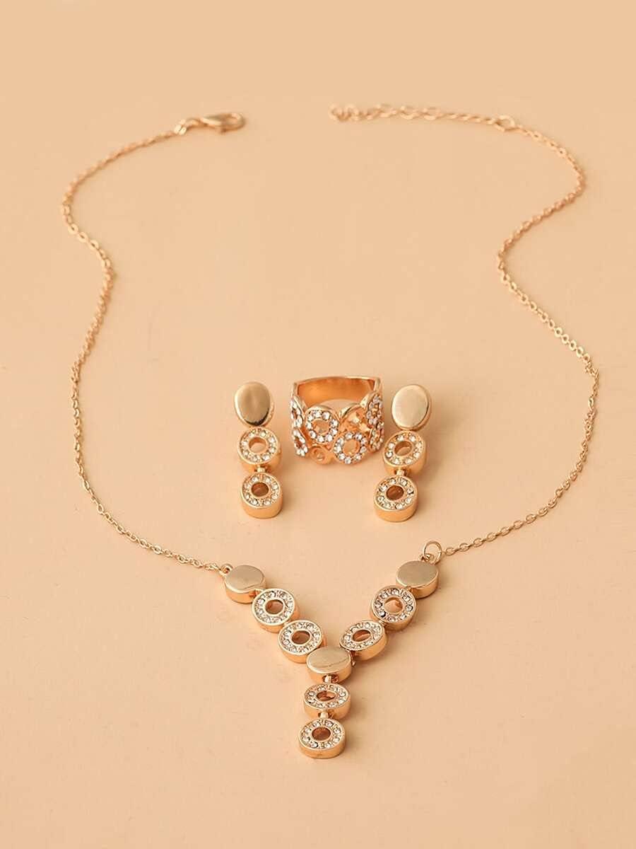 ZHAWE Women's Jewelry Set Series Decor Product 70% OFF Outlet 4pcs S Rhinestone