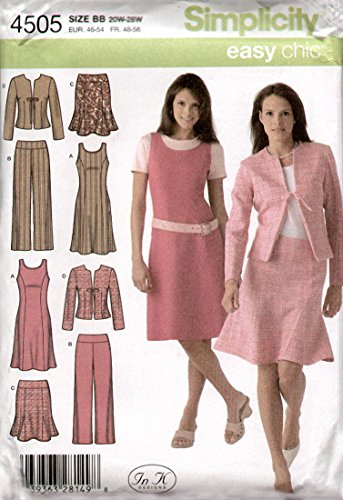Simplicity Easy Chic Muster 4505 Damen Kleiderschrank, Pullover, Rock, Jacke, Hose, Größen 20W-28W
