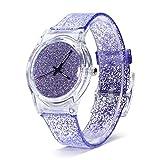 para Mujer Relojes de Cuarzo Glitter Powder Reloj de Pulsera Caja de Esfera Redonda Relojes con Correa de plástico cómodos para Adolescentes Señora Reloj de Pulsera Relojes Femeninos (Purple)