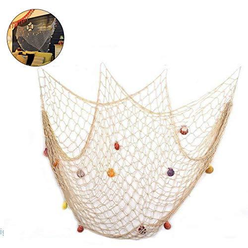 Decoración de red de pesca con conchas Pesca de estilo mediterráneo Decorativa con conchas de colores, dormitorio de malla sala de estar barra de pared decoración de fiesta fotografía,150x200 cm