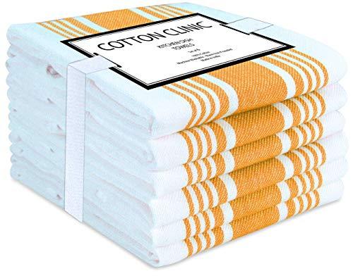 Katoenen-Kliniek theedoeken 45 x 70 cm 6 Stuks, vaatdoeken, bar handdoeken, 100% katoen Duurzaam Absorberende keukendoeken met ophanglus, Machinewasbaar - geel en wit